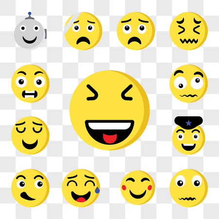 Set Of 13 transparent editable icons such as Laughing, Confused, Happy, Sweat, Cool, Police, Smile, Outrage, web ui icon pack, transparency set Illustration
