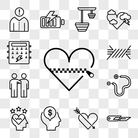 Set Of 13 transparent editable icons such as Heart, Cutter, Mind, Love, Wire, Friendship, Fuse box, web ui icon pack, transparency set Vector Illustratie