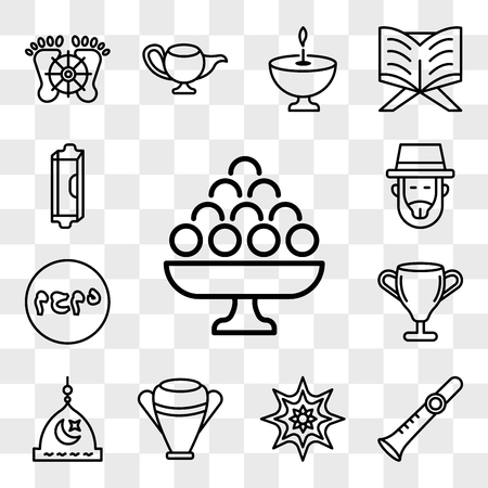 Set Of 13 transparent editable icons such as Laddu, Shehnai, Arabic Art, Manna Jar, Medina, Laver of Washing, Muhammad Word, Rabbi, Mezuzah, web ui icon pack, transparency set
