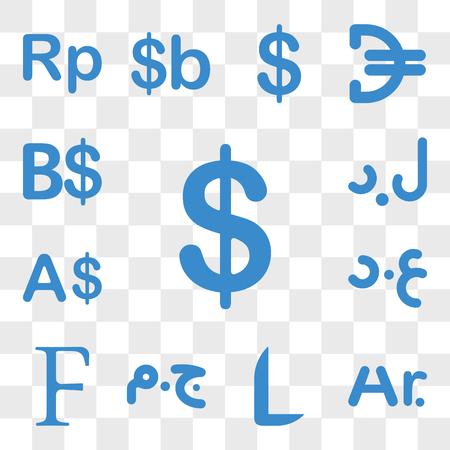 Ensemble de 13 icônes transparentes telles que la monnaie de la Colombie, Madagascar Honduras Egypte Burundi Irak web ui pack d'icônes modifiable, transparence Vecteurs