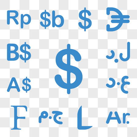 Set Of 13 transparent icons such as Colombia currency, Madagascar Honduras Egypt Burundi Iraq web ui editable icon pack, transparency Vector Illustratie