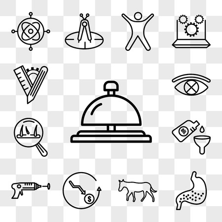 Set Of 13 transparent editable icons such as concierge bell, gut, ass, cheaper, laser tag, oil change, hair loss, censorship, tailor made, web ui icon pack, transparency set