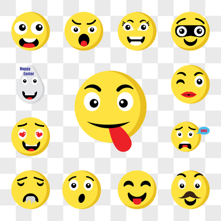 Set Of 13 transparent icons such as Tongue emoji, Father Surprised Drool In love Kiss web ui editable icon pack, transparency set Illustration