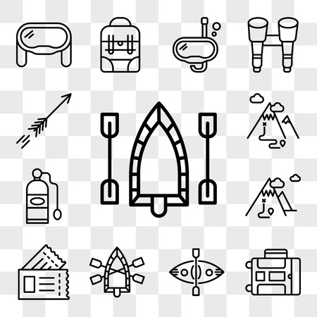 Set Of 13 transparent editable icons such as Raft, Luggage, Kayak, Passport, Mountain, Oxygen tank, Arrow, web ui icon pack, transparency set Ilustração
