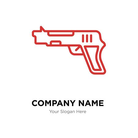 Plantilla de diseño de logotipo de empresa de armas, icono de vector de logotipo de pistola, empresa corporativa