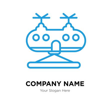 軍用ヘリコプター会社ロゴデザインテンプレート、軍事ヘリコプターロゴタイプベクトルアイコン、ビジネスコーポラル