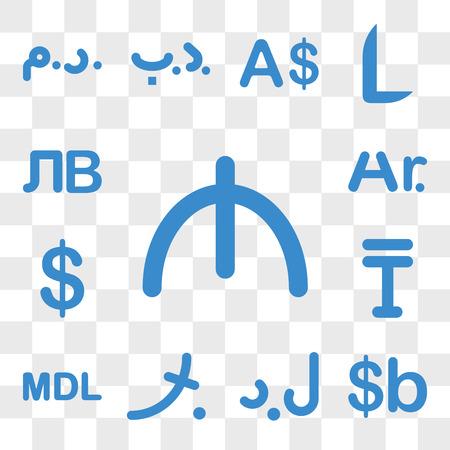 Set Of 13 transparent icons such as Azerbaijan currency, Bolivia Libya Maldives Moldova Kazakhstan web ui editable icon pack, transparency