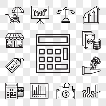 Set Of 13 transparent editable icons such as Calculator, Box, Piggy bank, Barcode, Point of service, Get money, Price tag, Change, Store, web ui icon pack, transparency set Ilustração
