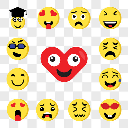 Set Of 13 transparent editable icons such as Heart, Nerd, Sad, Crying, In love, Sweat, Happy, Cool, web ui icon pack, transparency set Illustration