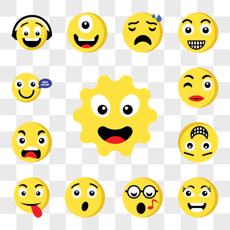 Set Of 13 transparent icons such as Sun emoji, Smart Nerd Surprised Tongue Happy Outrage Kiss web ui editable icon pack, transparency set