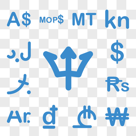 Set Of 13 transparent icons such as Barbados currency, North Korea Georgia Croatia Madagascar Mauritius web ui editable icon pack, transparency