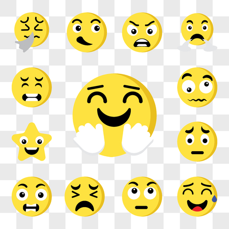Set Of 13 transparent editable icons such as Happy, Sweat, Thinking, Sad, Outrage, Star, Confused, Pain, web ui icon pack, transparency set