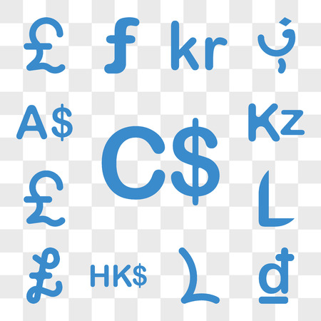 Set Of 13 transparent icons such as Canada currency, Croatia Lesotho Hong Kong Falkland Islands, Honduras web ui editable icon pack, transparency