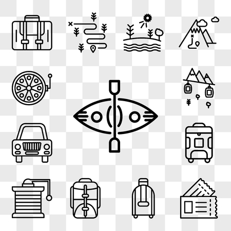 Set Of 13 transparent editable icons such as Kayak, Passport, Suitcase, Backpack, Fishing rod, Luggage, Car, Cable car cabin, reel, web ui icon pack, transparency set
