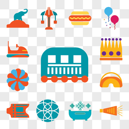Set Of 13 transparent editable icons such as Cage, Noisemaker, Snow bath, Ball, Ticket, Eye mask, King cake, Crown, Bumper, web ui icon pack, transparency set Illustration
