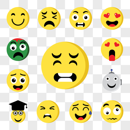 Set Of 13 transparent editable icons such as Pain, Confused, Sweat, Sad, Graduated, Robot, In love, Zombie, web ui icon pack, transparency set Illustration