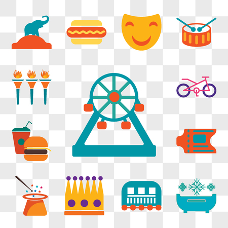 Set Of 13 transparent editable icons such as Ferris wheel, Snow bath, Cage, Crown, Magician, Ticket, Fast food, Bicycle, Flambeaux, web ui icon pack, transparency set