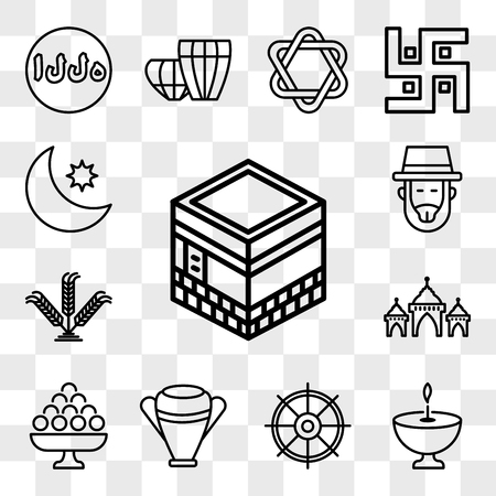 Set Of 13 transparent editable icons such as Kaaba Mecca, Religion, Dharma, Manna Jar, Laddu, Mosque Domes, Israel Barley, Rabbi, Crescent Moon and Star, web ui icon pack, transparency set