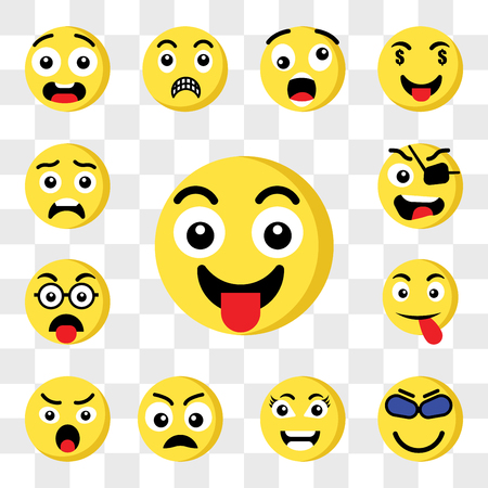 Set Of 13 transparent icons such as Tongue emoji, Cool Smart Sad Angry Nerd Pirate web ui editable icon pack, transparency set Çizim