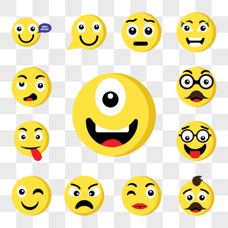Set Of 13 transparent icons such as Cyclops emoji, Father Kiss Angry Wink Nerd Tongue web ui editable icon pack, transparency set