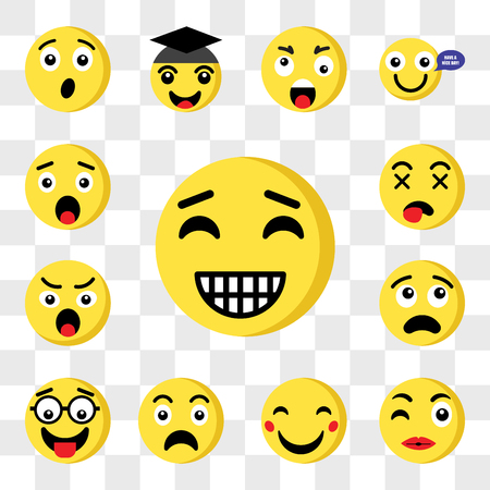 Set Of 13 transparent icons such as Happy emoji, Kiss Sad Nerd Thinking Angry Dead web ui editable icon pack, transparency set Illustration