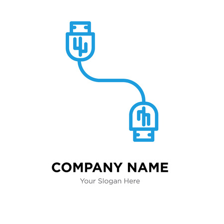 Usb cable company logo design template, Usb cable logotype vector icon, business corporative