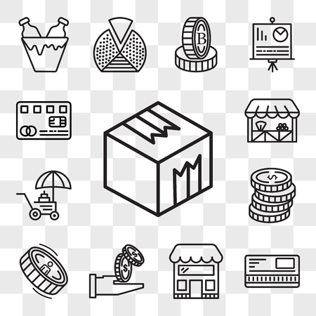 Set Of 13 transparent editable icons such as Box, Safebox, Store, Get money, Coin, Coins, Grocery, Cit card, web ui icon pack, transparency set