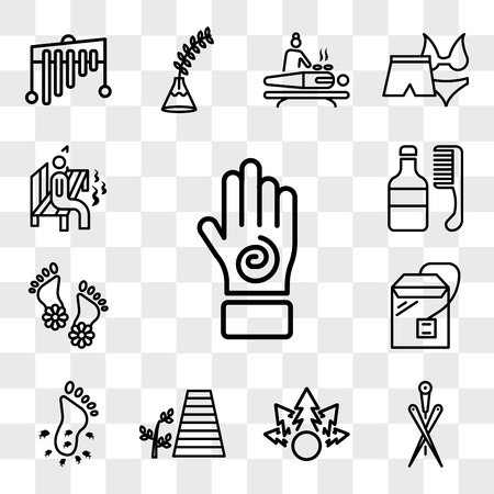 Set Of 13 transparent icons such as Hand with an spiral, Acupuncture needles, Plant for a spa, walkway and plant, Feet couple, Tea bag, web ui editable icon pack, transparency Illustration