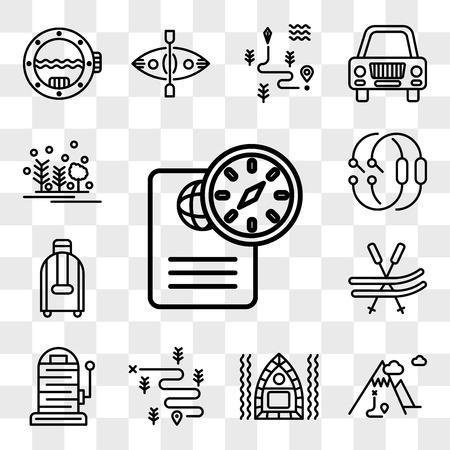 Set van 13 transparante bewerkbare pictogrammen zoals paspoort, berg, vlot, wandelen, hengel, ski, koffer, karabijnhaak, bos, web ui icon pack, transparantiereeks Vector Illustratie