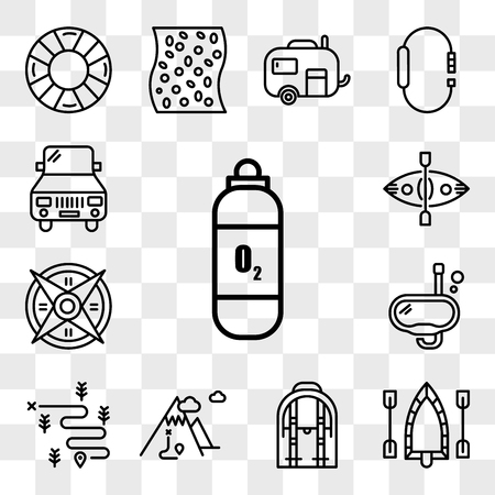 Set Of 13 transparent editable icons such as Oxygen tank, Raft, Backpack, Mountain, Hiking, Snorkel, Windrose, Kayak, Car, web ui icon pack, transparency set