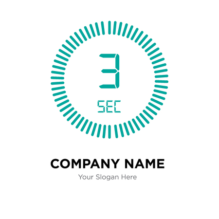 The 3 seconds company logo design template, The 3 seconds logotype vector icon, business corporative Ilustração