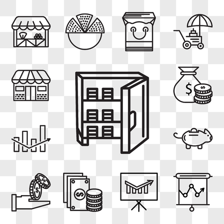 Set Of 13 transparent editable icons such as Strongbox, Presentation, Change, Get money, Piggy bank, Box, Rich, Store, web ui icon pack, transparency set