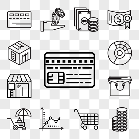 Set Of 13 transparent editable icons such as Cit card, Coins, Cart, Graph, Coin, Bag, Barbershop, Pie chart, Box, web ui icon pack, transparency set Ilustração