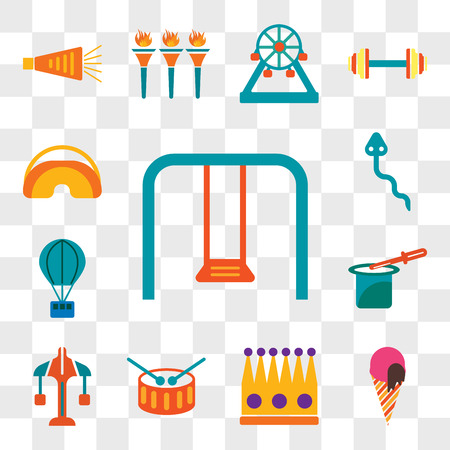 Set Of 13 transparent editable icons such as Swing, Ice cream, Crown, Drum, Carousel, Magic trick, Hot air balloon, Snake, Eye mask, web ui icon pack, transparency set Ilustração