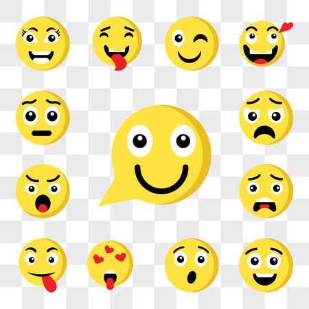 Set Of 13 transparent icons such as Happy emoji, Surprised In love Tongue Angry Sad web ui editable icon pack, transparency set