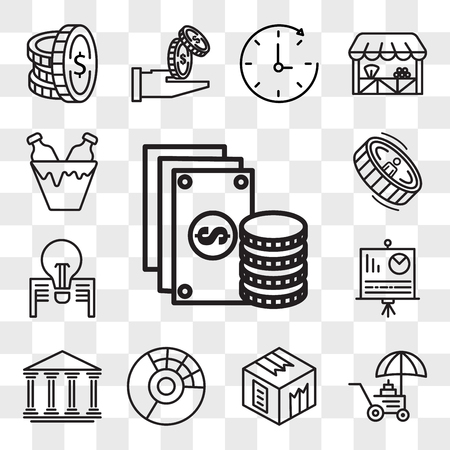 Set Of 13 transparent editable icons such as Change, Coin, Box, Pie chart, Bank, Presentation, Stamp, Pack, web ui icon pack, transparency set