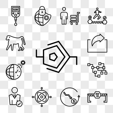 Set Of 13 transparent editable icons such as synapse, dead end, cheaper, gyroscope, user, relational database, daylight savings, irect, baboon, web ui icon pack, transparency set Illustration