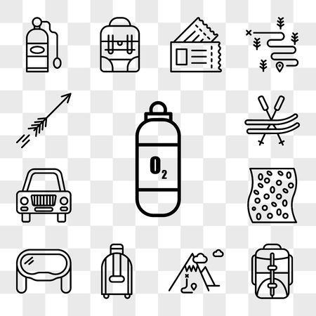 Set Of 13 transparent editable icons such as Oxygen tank, Backpack, Mountain, Suitcase, Goggles, Mat, Car, Ski, Arrow, web ui icon pack, transparency set Illustration