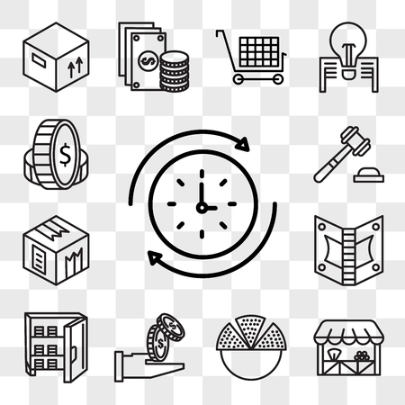 Set Of 13 transparent editable icons such as Rewind time, Grocery, Pie chart, Get money, Strongbox, Notes, Box, Justice, Coin, web ui icon pack, transparency set