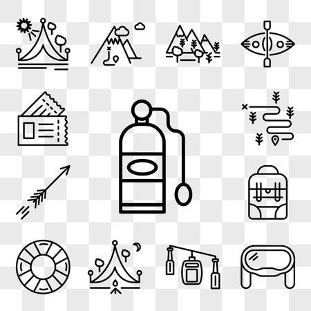 Set Of 13 transparent editable icons such as Oxygen tank, Goggles, Cable car cabin, Camping, Lifesaver, Backpack, Arrow, Hiking, Passport, web ui icon pack, transparency set