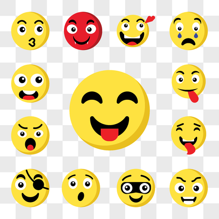Set Of 13 transparent icons such as Tongue emoji, Smart Thief Surprised Pirate Angry web ui editable icon pack, transparency set Ilustração