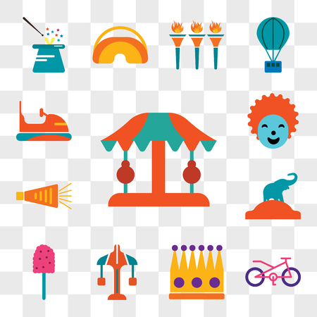 Set Of 13 transparent editable icons such as Carousel, Bicycle, Crown, Cotton candy, Elephant, Noisemaker, Clown, Bumper, web ui icon pack, transparency set