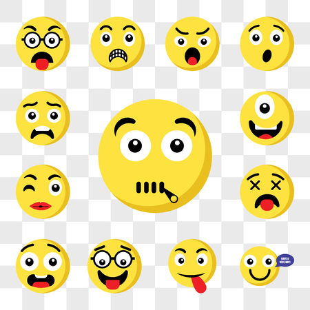 Set Of 13 transparent icons such as Muted emoji, Happy Tongue Nerd Ugly Dead Kiss Cyclops web ui editable icon pack, transparency set