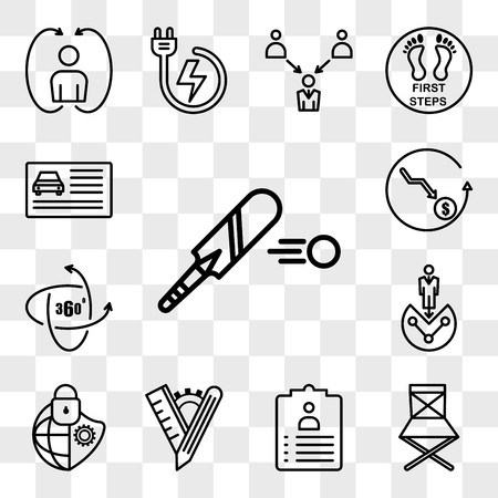 Set Of 13 transparent icons such as cricket bat, folding chair, job title, tailor made, cybersecurity, customer segmentation, 360 panorama, cheaper, web ui editable icon pack, transparency set