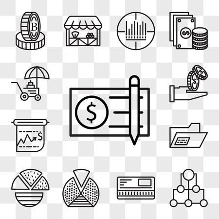 Set Of 13 transparent editable icons such as Check, Diagram, Safebox, Pie chart, Record, Presentation, Get money, Coin, web ui icon pack, transparency set