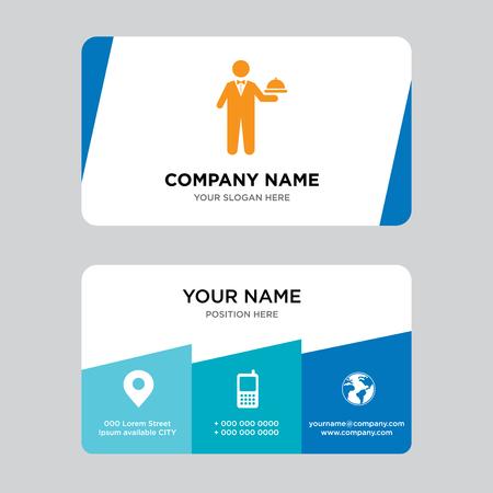 Modello di progettazione di biglietto da visita cameriere, visita per la tua azienda, illustrazione vettoriale carta d'identità moderna e creativa