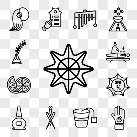 Set Of 13 transparent icons such as Star of sea fivepointed shape, Hand with an spiral, Spa pan, Acupuncture needles, nail polish bottle, discount, web ui editable icon pack, transparency Illustration