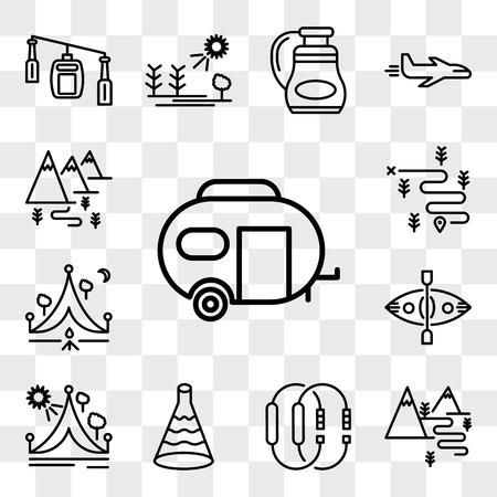 Set Of 13 transparent editable icons such as Caravan, Hiking, Carabiner, Flask, Travel, Kayak, Camping, web ui icon pack, transparency set