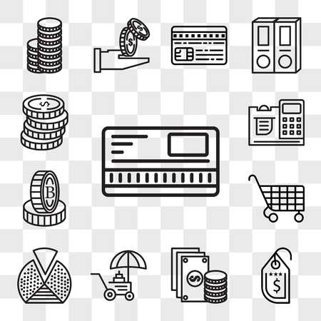 Set Of 13 transparent editable icons such as Safebox, Price tag, Change, Coin, Pie chart, Cart, Stand, Cashier, Coins, web ui icon pack, transparency set