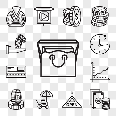 Set Of 13 transparent editable icons such as Bag, Change, Open, Coin, Stand, Graph, Safebox, Time passing, Get money, web ui icon pack, transparency set